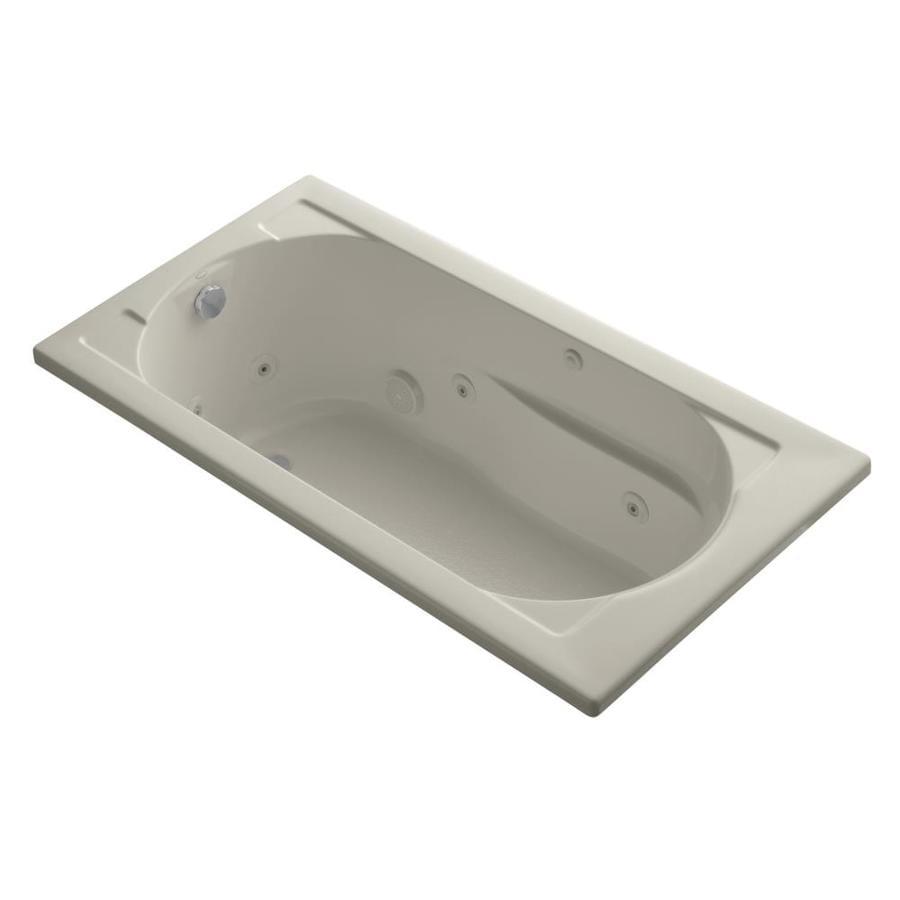 KOHLER Devonshire 60-in Sandbar Acrylic Drop-In Whirlpool Tub with Reversible Drain