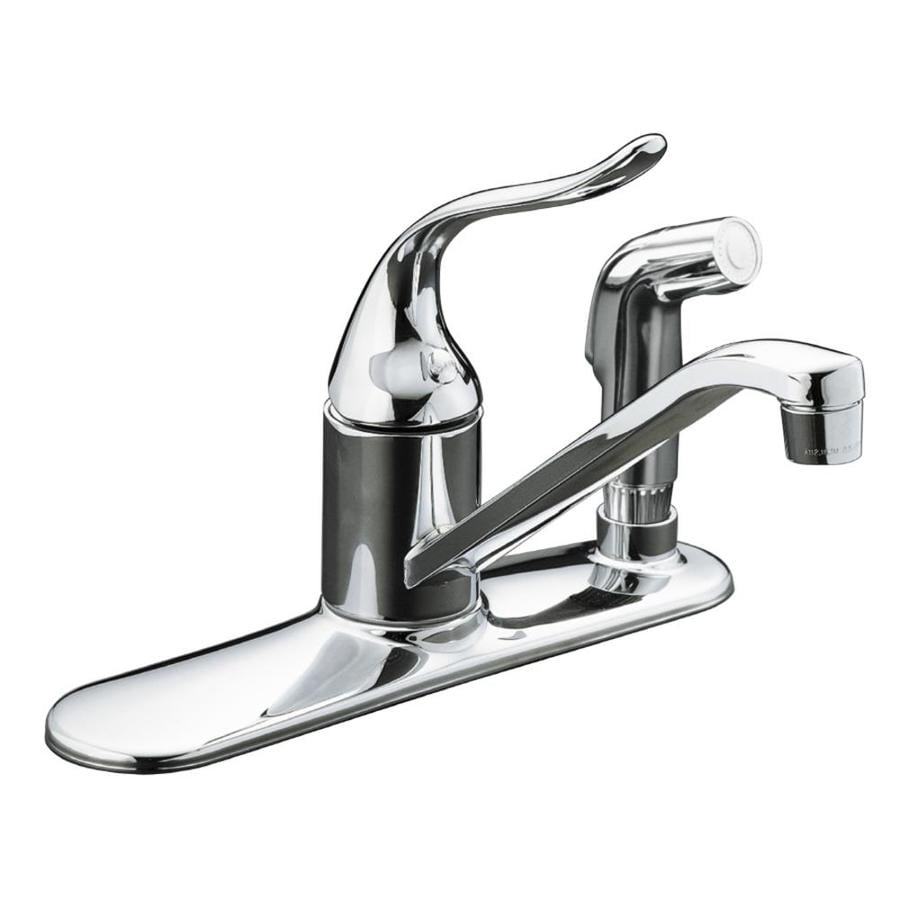 Shop kohler coralais polished chrome 1 handle deck mount low arc kitchen faucet at for Kohler coralais bathroom faucet