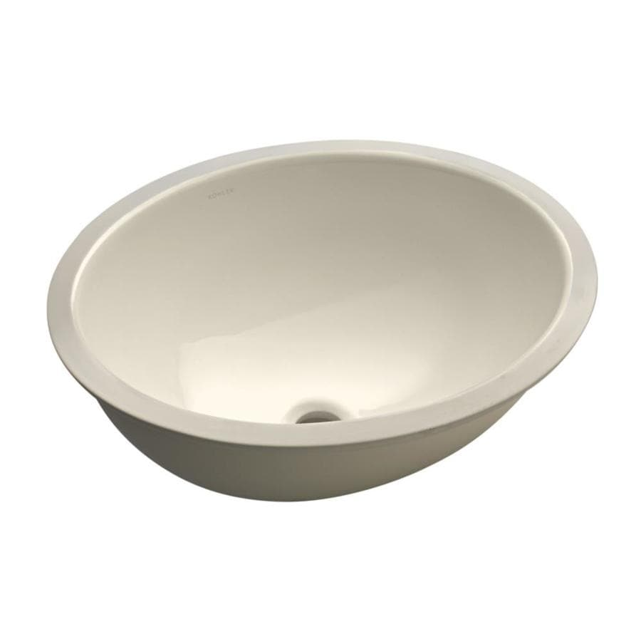 kohler bathroom sinks shop kohler caxton biscuit undermount oval bathroom sink 13384