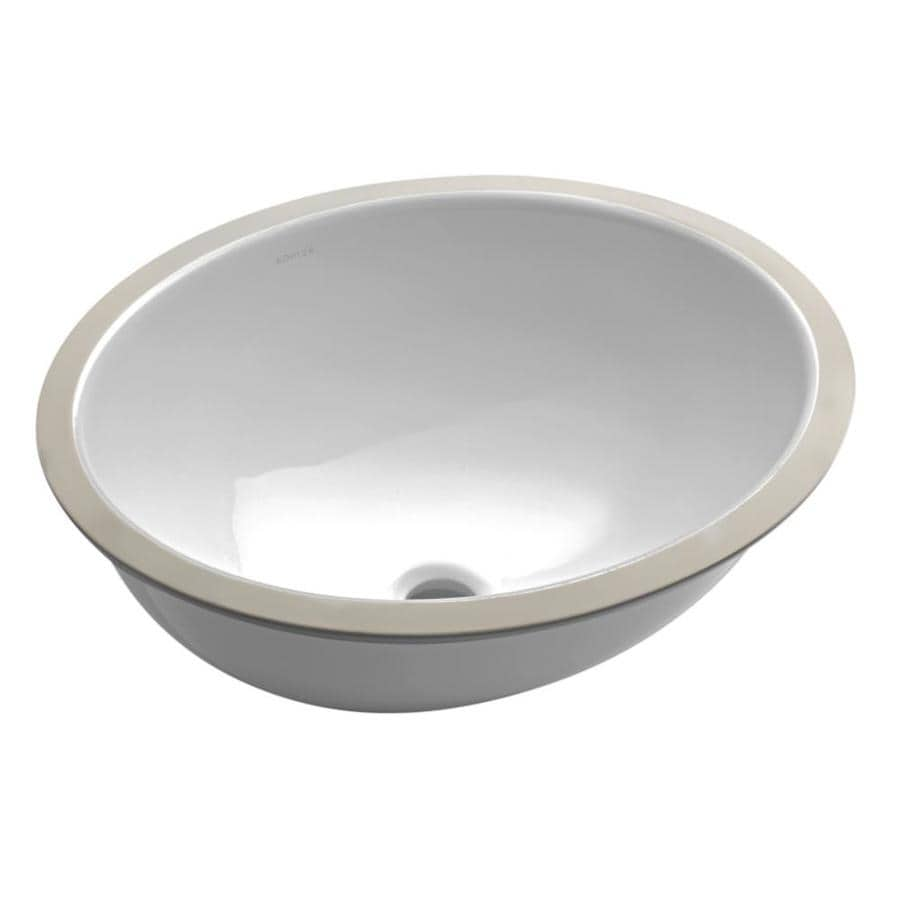 Shop KOHLER Caxton White Undermount Oval Bathroom Sink at Lowes.com