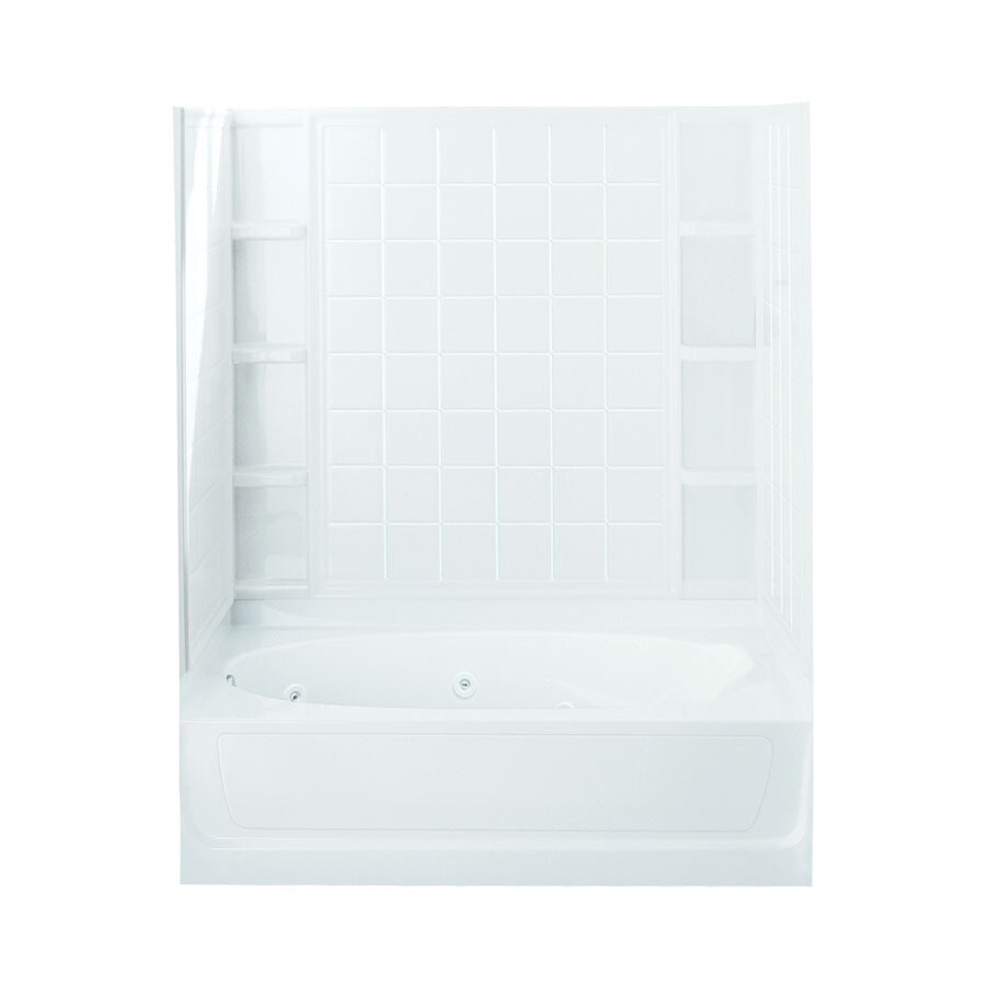 Sterling Ensemble White Fiberglass and Plastic Oval In Rectangle Whirlpool Tub (Common: 42-in x 60-in; Actual: 73.25-in x 43.5-in x 60.25-in)