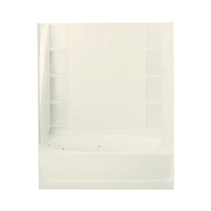Sterling Ensemble 60-in Biscuit Vikrell Alcove Whirlpool Tub with Left-Hand Drain