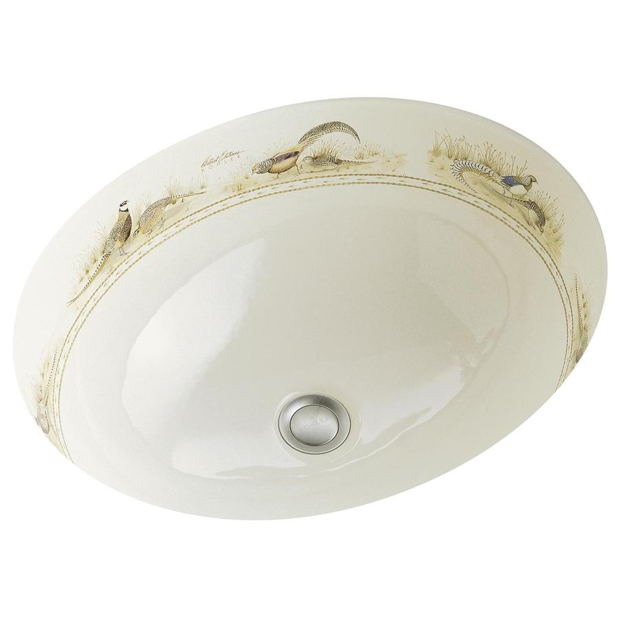 KOHLER Artist Edition Caxton Biscuit Undermount Oval Bathroom Sink with Overflow
