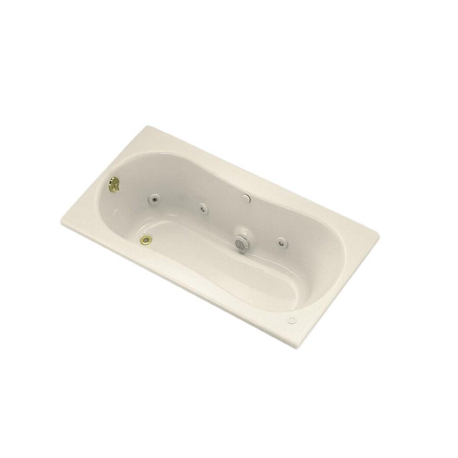 Shop KOHLER Acrylic Rectangular Whirlpool Tub (Common: 32-in x 60-in ...
