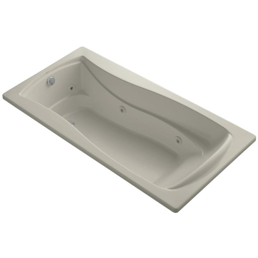 KOHLER Mariposa 72-in Sandbar Acrylic Drop-In Whirlpool Tub with Reversible Drain