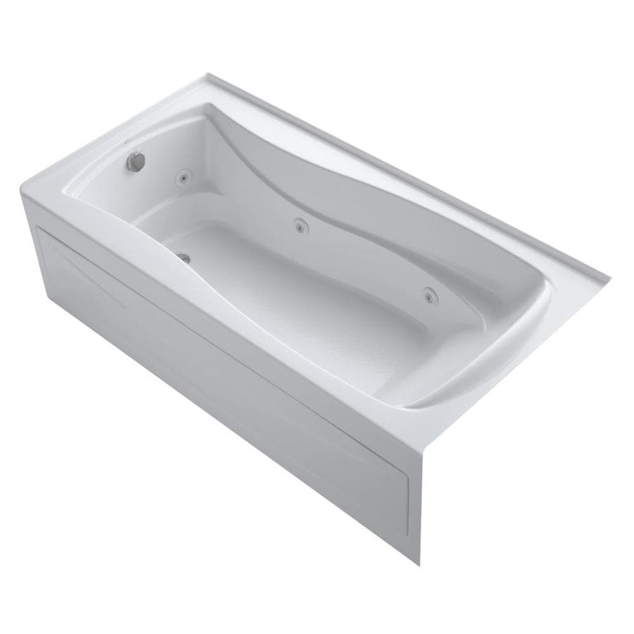 KOHLER Mariposa White Acrylic Hourglass In Rectangle Whirlpool Tub (Common: 36-in x 72-in; Actual: 20-in x 36-in x 72-in)