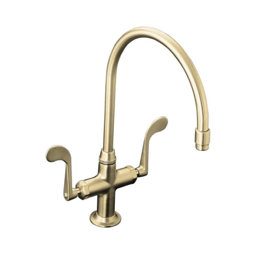 KOHLER Essex Vibrant Brushed Nickel 2-Handle High-Arc Kitchen Faucet