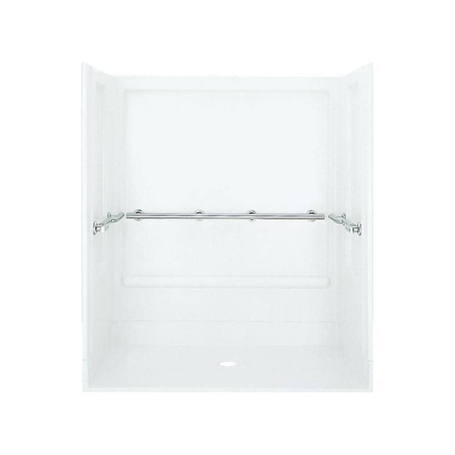 Sterling Roll-in White Vikrell Wall and Floor 4-Piece Alcove Shower Kit (Common: 40-in x 40-in; Actual: 72-in x 39.375-in x 63.25-in)