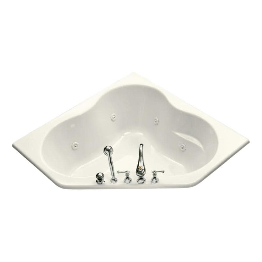 KOHLER Kohler Biscuit Acrylic Corner Whirlpool Tub (Common: 54-in x 54-in; Actual: 20.5-in x 54-in x 54-in)