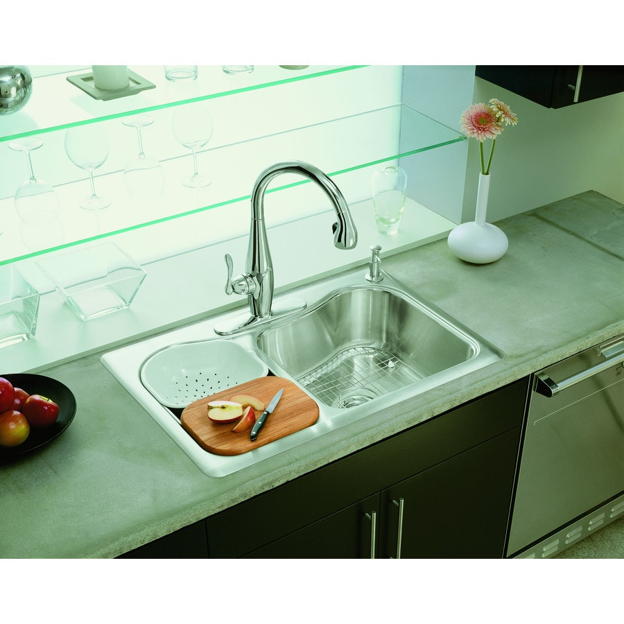 Kohler Stainless Sink : KOHLER Staccato 22-in x 33-in Stainless Steel Double-Basin Drop-in 4 ...