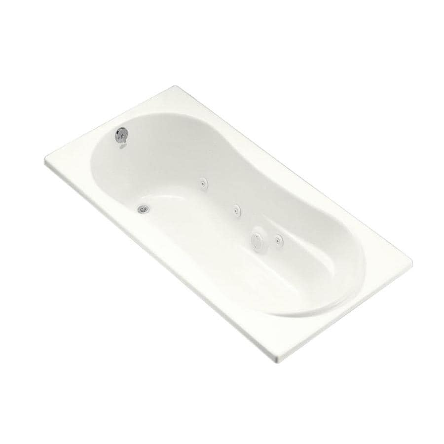 KOHLER Kohler White Acrylic Hourglass In Rectangle Whirlpool Tub (Common: 36-in x 72-in; Actual: 20.125-in x 36-in x 72-in)