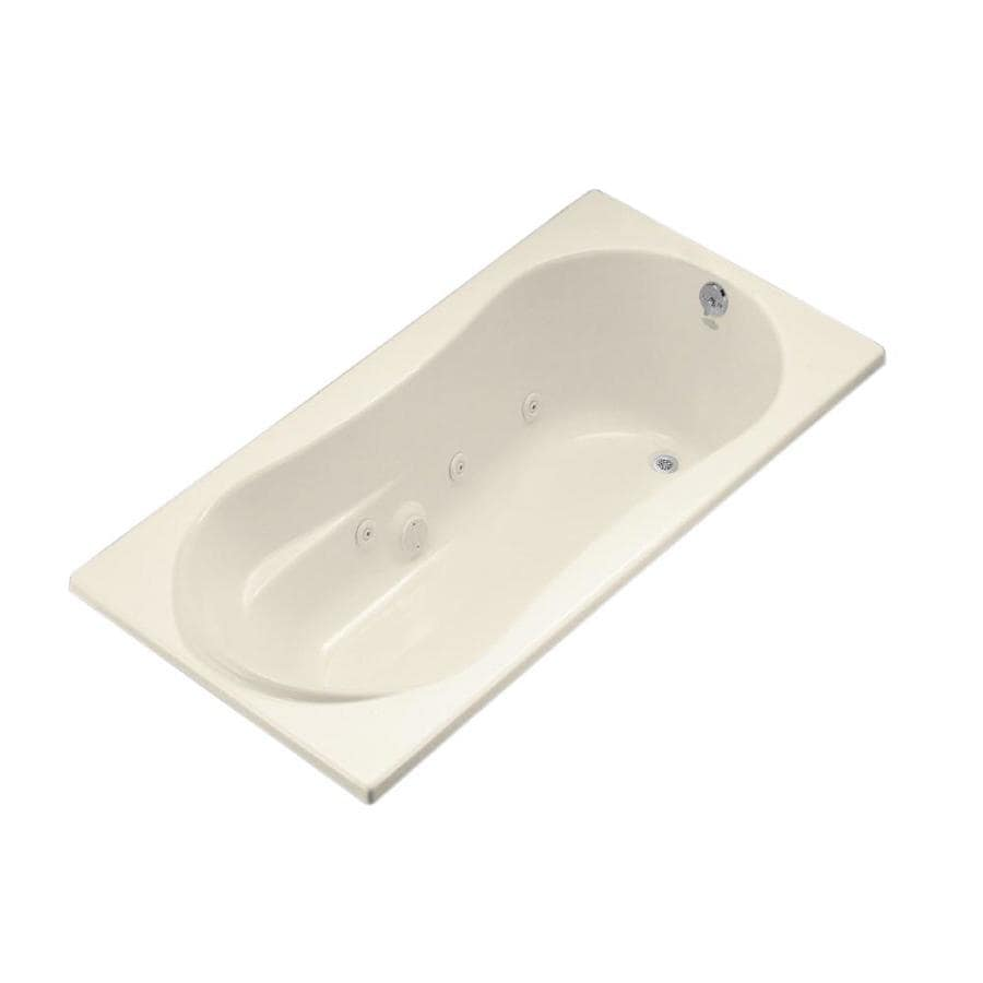 KOHLER Proflex 72-in Almond Acrylic Drop-In Whirlpool Tub with Right-Hand Drain