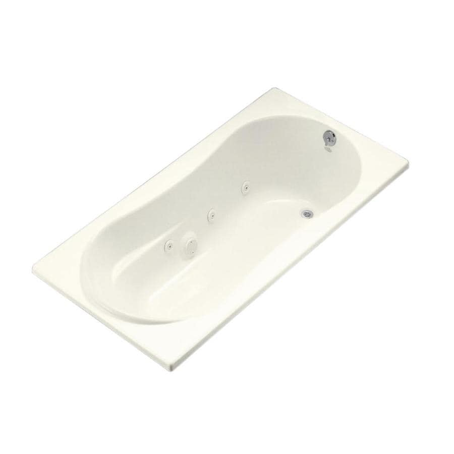 KOHLER Proflex 72-in Biscuit Acrylic Drop-In Whirlpool Tub with Right-Hand Drain