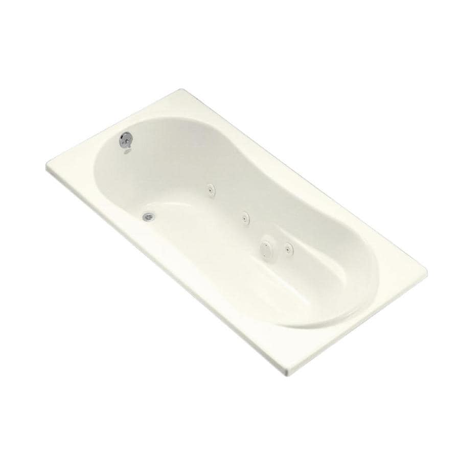 KOHLER 72-in Biscuit Acrylic Drop-In Whirlpool Tub with Reversible Drain