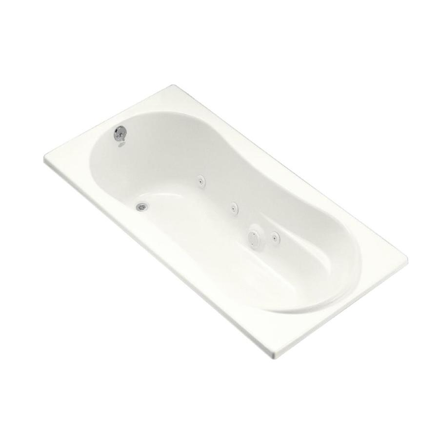 KOHLER 72-in White Acrylic Drop-In Whirlpool Tub with Reversible Drain