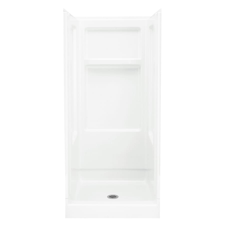 Shop Sterling Advantage White Vikrell Wall And Floor 4 Piece Alcove Shower Ki