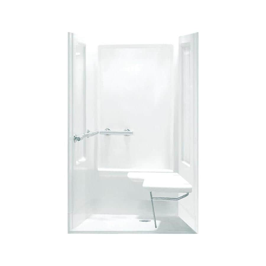 Sterling Transfer White Vikrell Wall Vikrell Floor 4-Piece Alcove Shower Kit (Common: 40-in x 40-in; Actual: 72-in x 39.375-in x 39.375-in)