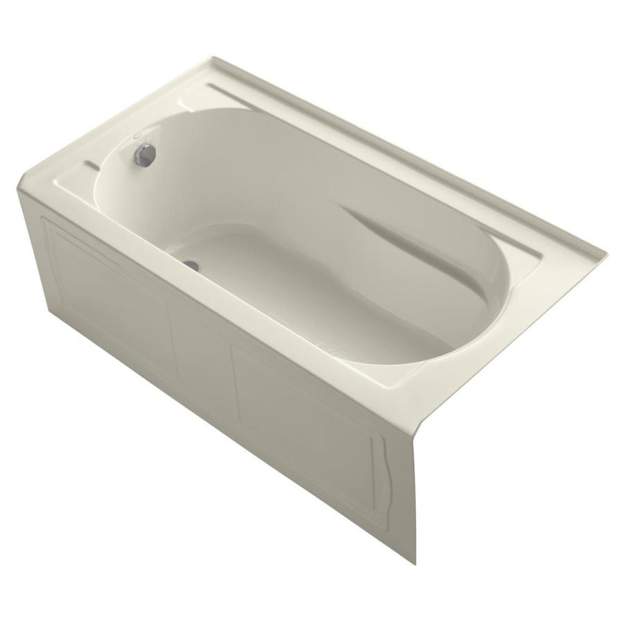 KOHLER Devonshire Almond Acrylic Oval In Rectangle Alcove Bathtub with Left-Hand Drain (Common: 32-in x 60-in; Actual: 20-in x 32-in x 60-in)