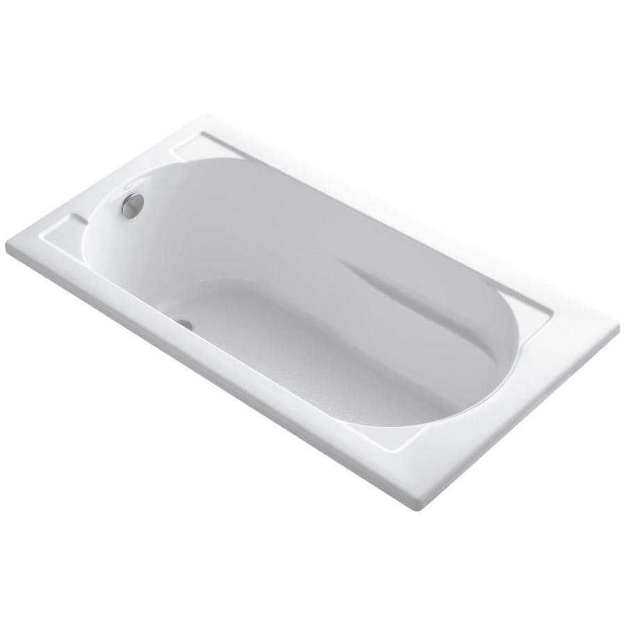 KOHLER Devonshire 60-in White Acrylic Drop-In Bathtub with Reversible Drain