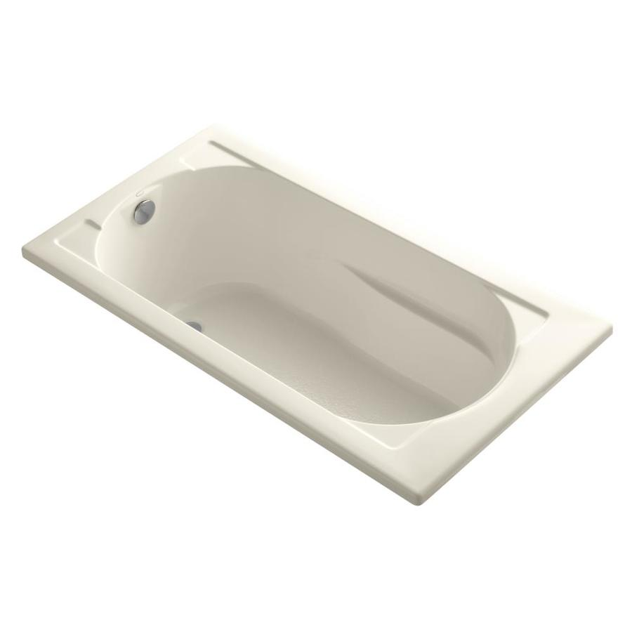 KOHLER Devonshire Almond Acrylic Rectangular Drop-in Bathtub with Reversible Drain (Common: 32-in x 60-in; Actual: 20-in x 32-in x 60-in)