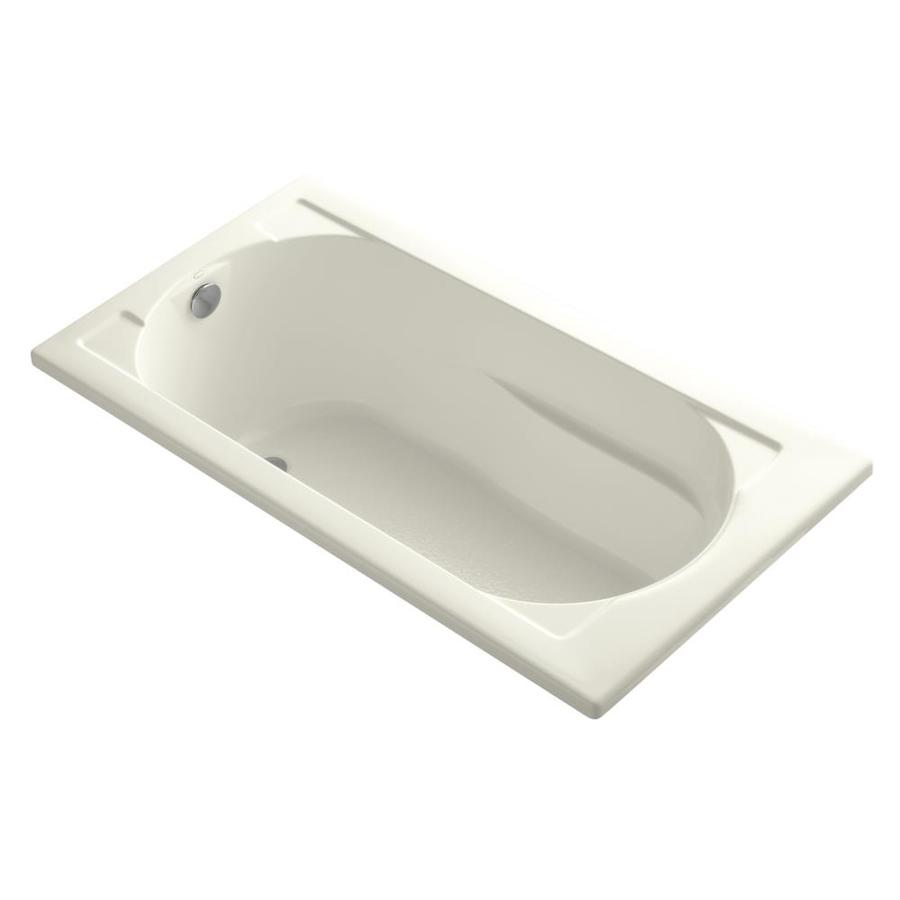 KOHLER Devonshire 60-in Biscuit Acrylic Drop-In Bathtub with Reversible Drain