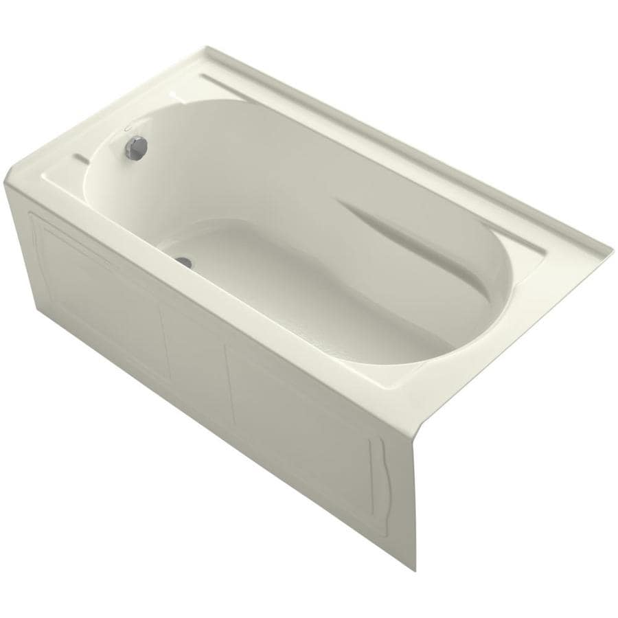 KOHLER Devonshire 60-in Biscuit Acrylic Alcove Bathtub with Left-Hand Drain