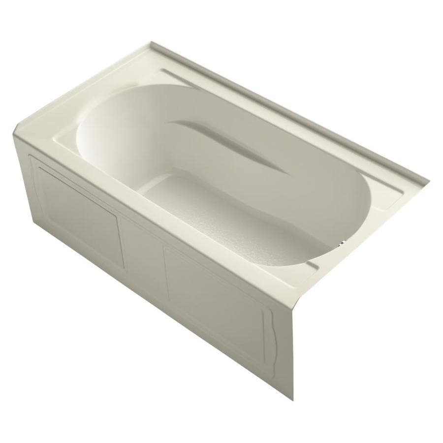 KOHLER Devonshire Almond Acrylic Oval In Rectangle Alcove Bathtub with Right-Hand Drain (Common: 32-in x 60-in; Actual: 20-in x 32-in x 60-in)