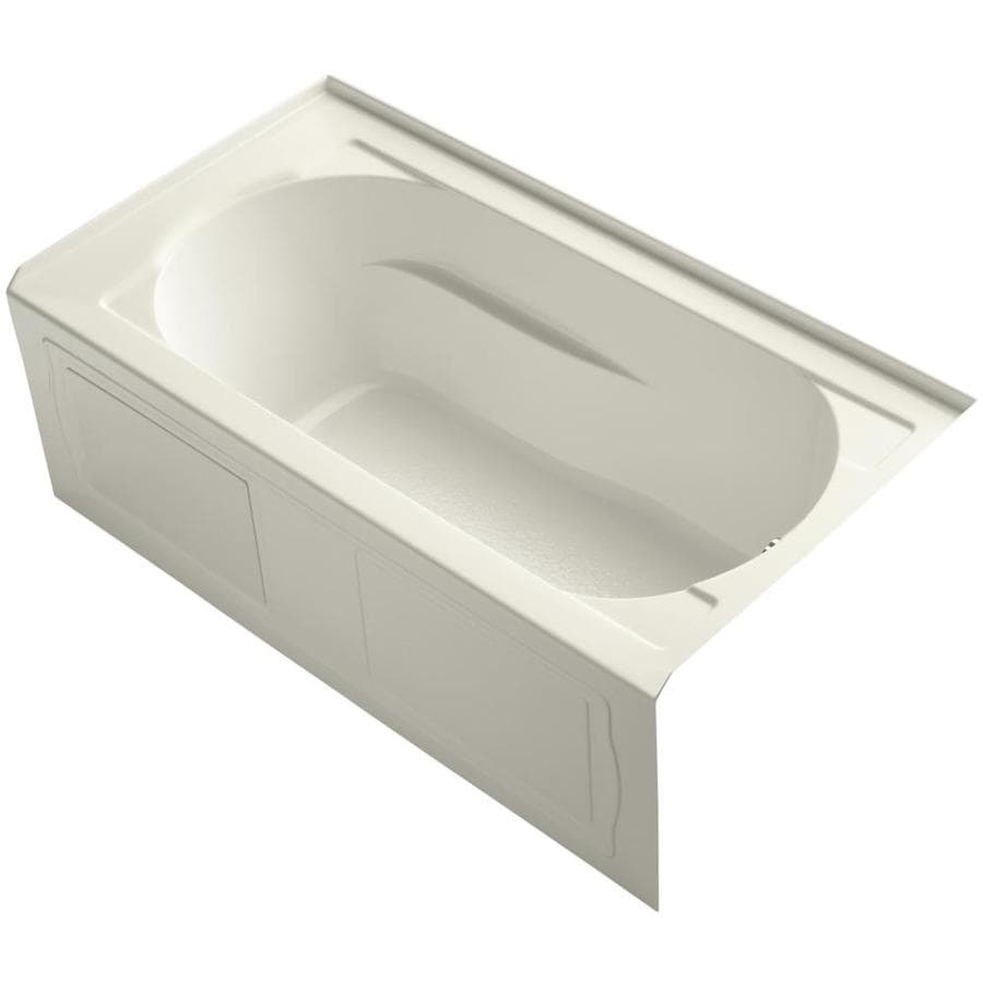 KOHLER Devonshire 60-in Biscuit Acrylic Alcove Bathtub with Right-Hand Drain