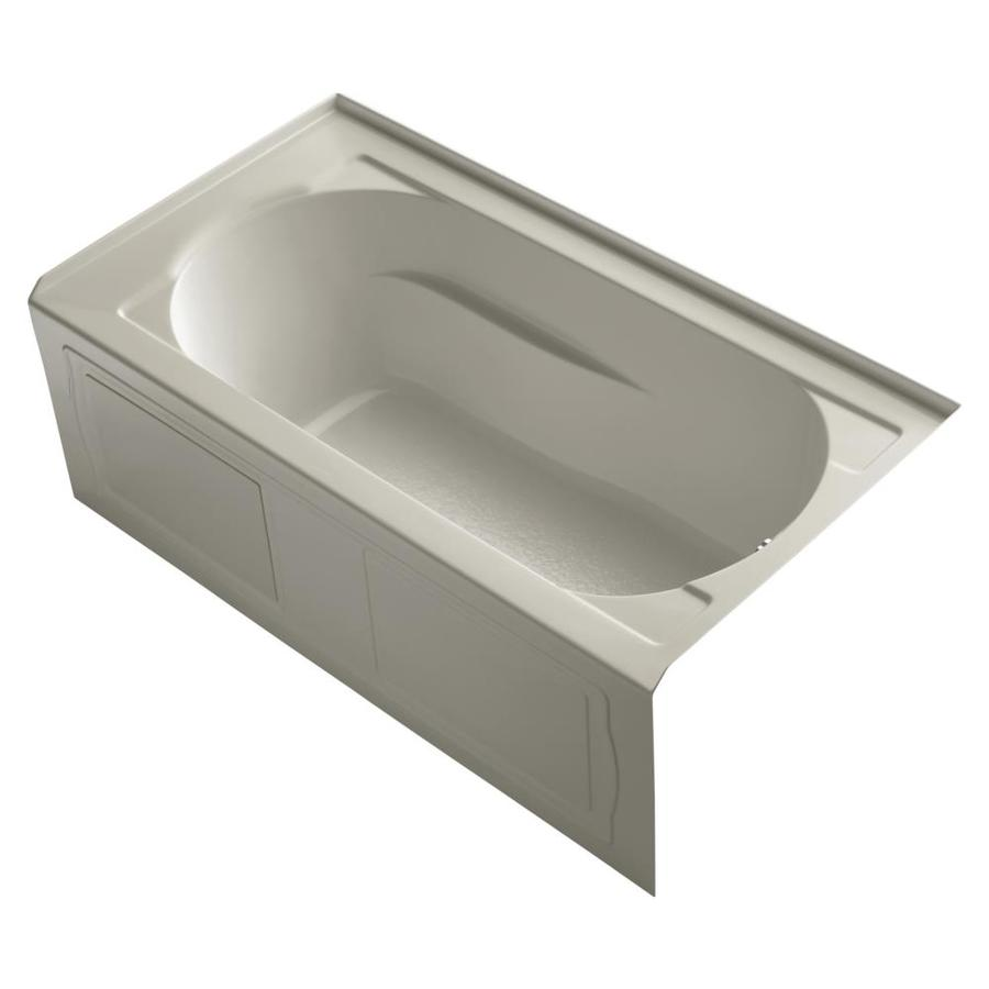 KOHLER Devonshire Sandbar Acrylic Oval In Rectangle Alcove Bathtub with Right-Hand Drain (Common: 32-in x 60-in; Actual: 20-in x 32-in x 60-in)
