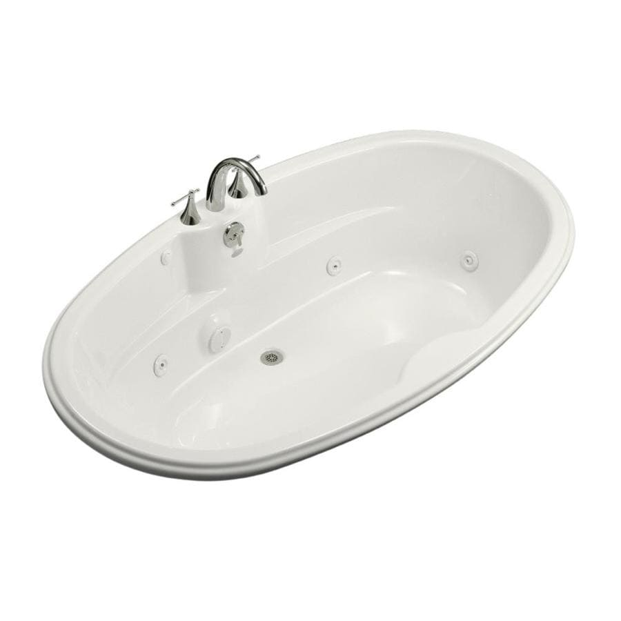 Shop kohler 72 in white acrylic drop in whirlpool tub with for Oval garden tub