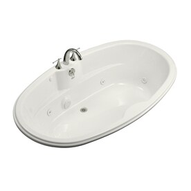 KOHLER 72 In White Acrylic Rectangular Back Center Drain Drop In Whirlpool  Bathtub