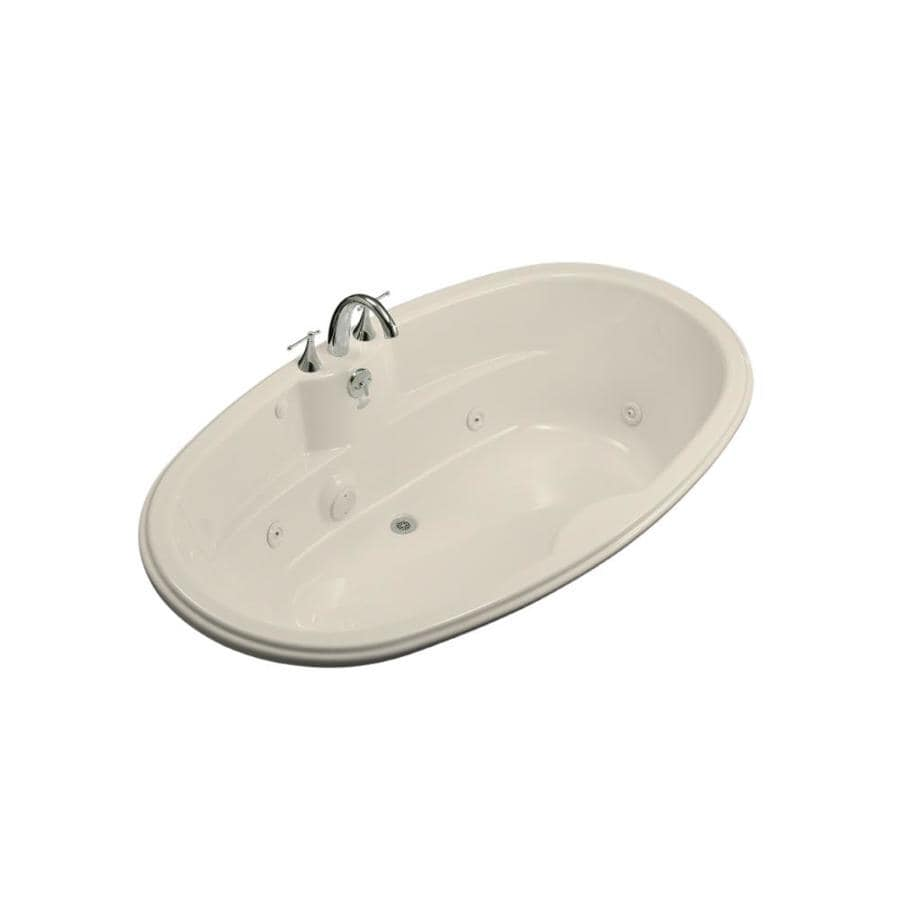 KOHLER Almond Acrylic Oval Whirlpool Tub (Common: 42-in x 72-in; Actual: 19.75-in x 42.125-in x 72-in)