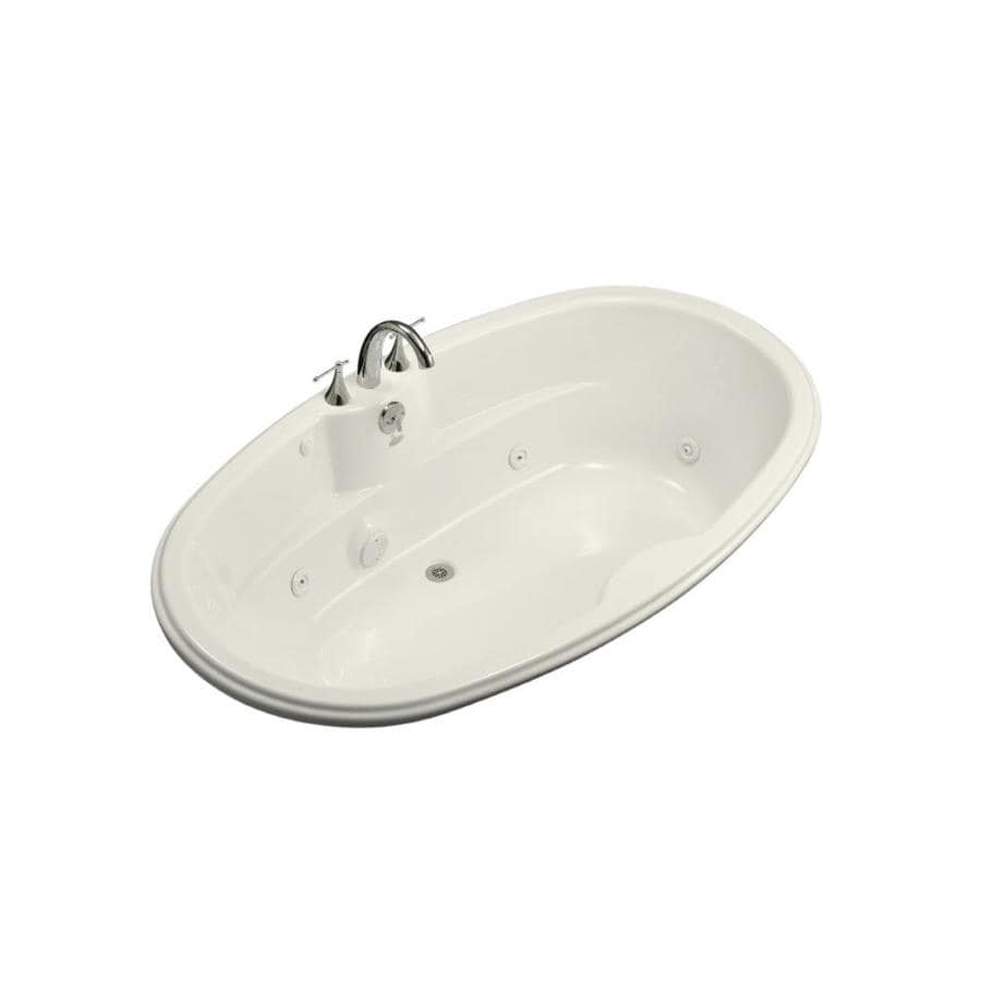 KOHLER 72-in Biscuit Acrylic Drop-In Whirlpool Tub with Back Center Drain