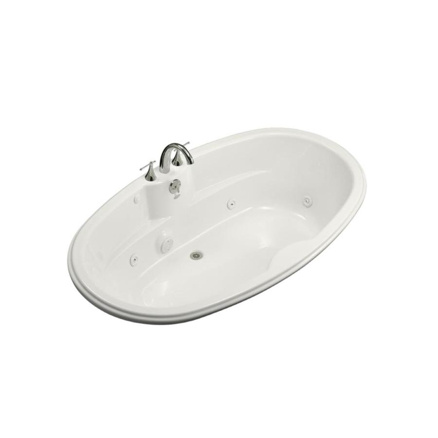 KOHLER White Acrylic Oval Whirlpool Tub (Common: 42-in x 72-in; Actual: 19.75-in x 42.125-in x 72-in)
