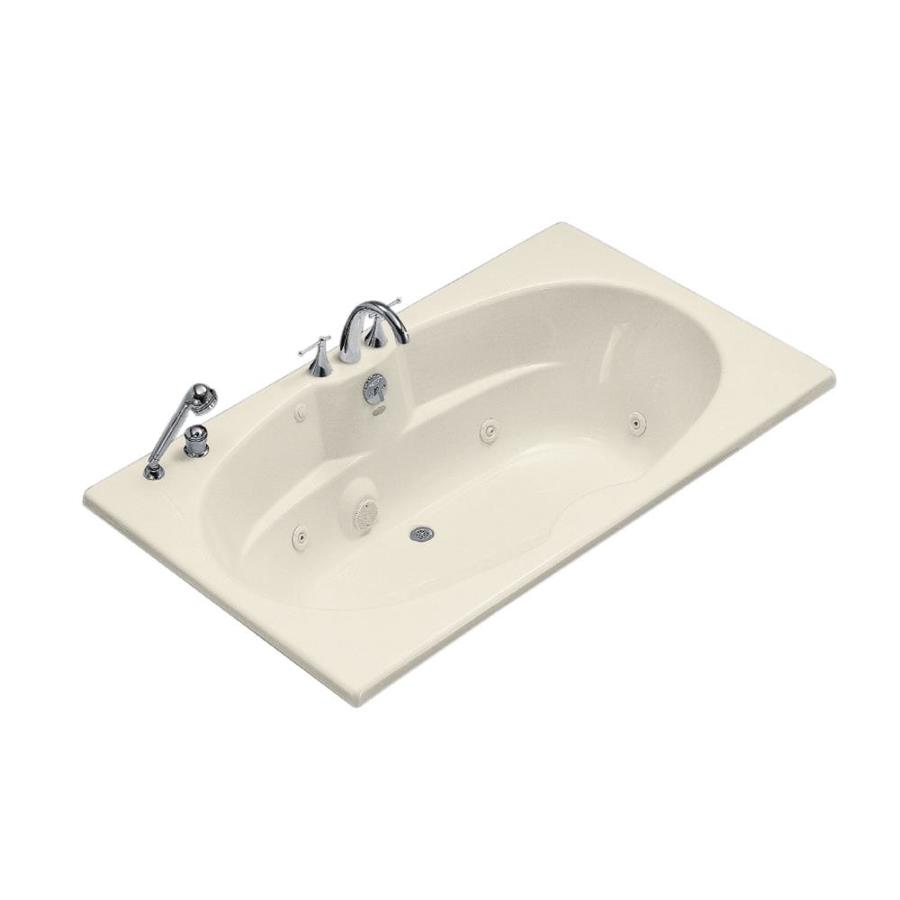 KOHLER 72-in Almond Acrylic Drop-In Whirlpool Tub with Back Center Drain