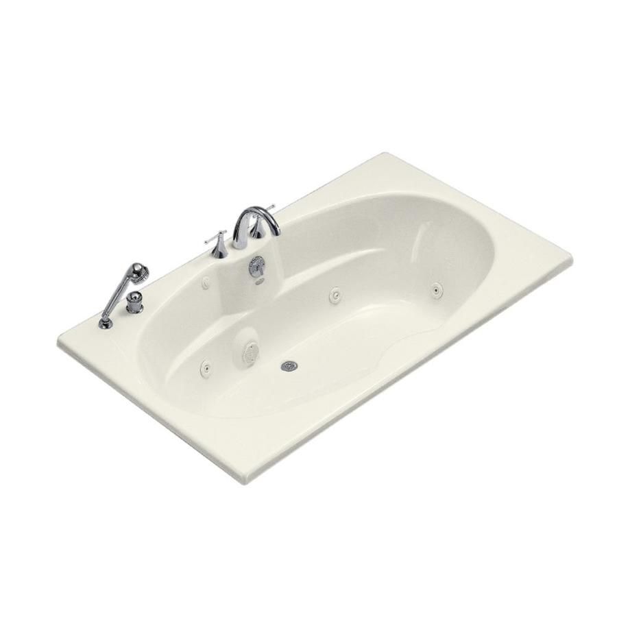 KOHLER Biscuit Acrylic Oval In Rectangle Whirlpool Tub (Common: 42-in x 72-in; Actual: 20.125-in x 42-in x 72-in)
