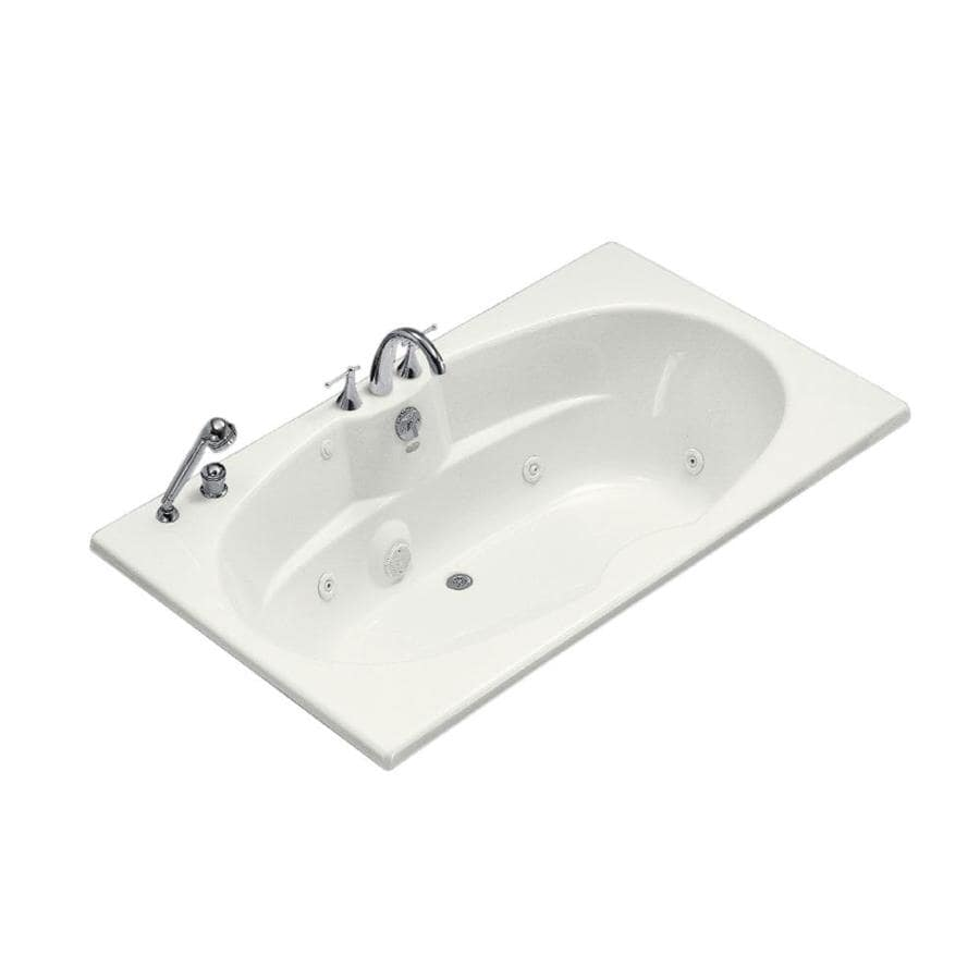 KOHLER 72-in White Acrylic Drop-In Whirlpool Tub with Back Center Drain