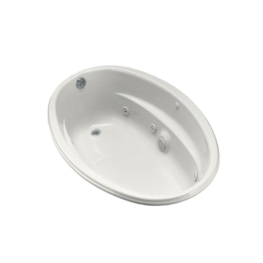 KOHLER 60-in White Acrylic Drop-In Whirlpool Tub with Reversible Drain