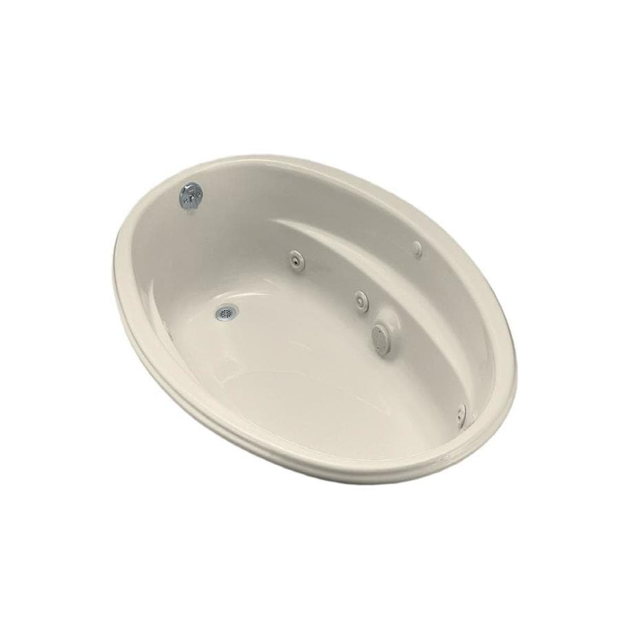 KOHLER 60-in Almond Acrylic Drop-In Whirlpool Tub with Reversible Drain