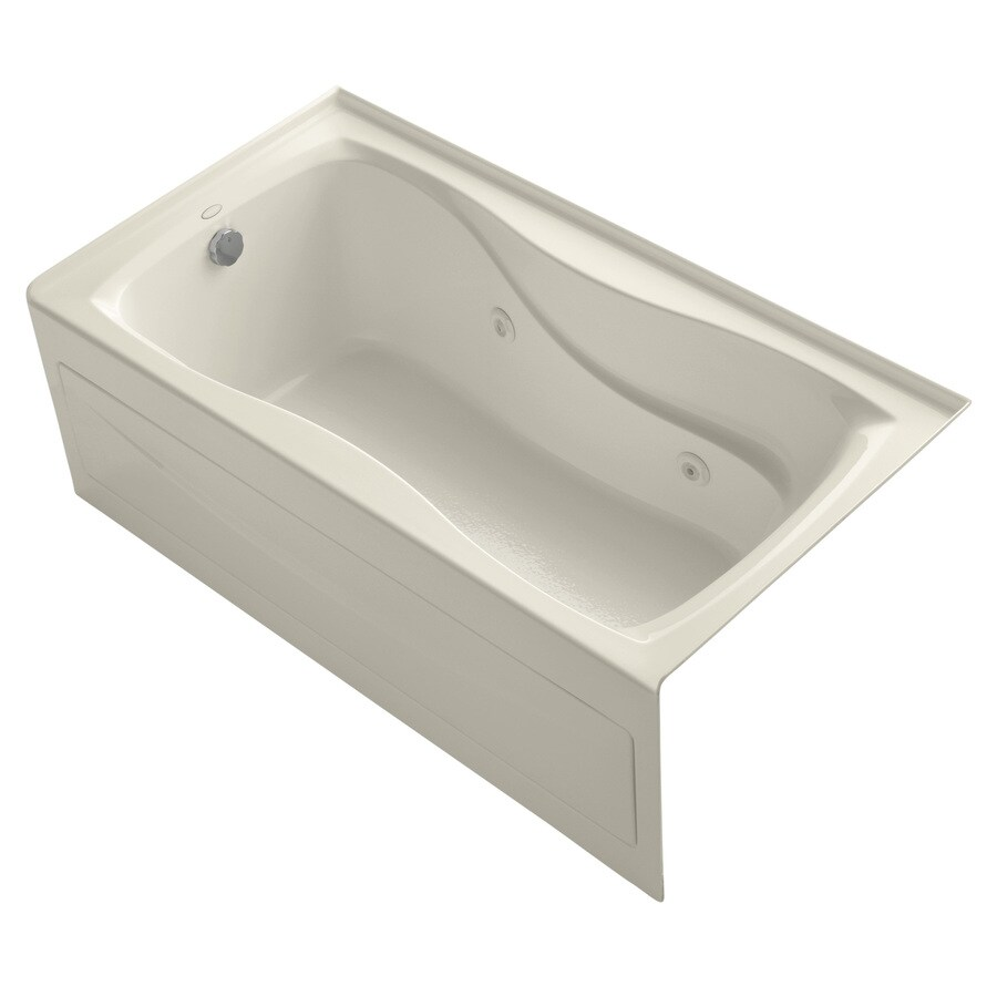 KOHLER Hourglass 60-in Almond Acrylic Alcove Whirlpool Tub with Left-Hand Drain