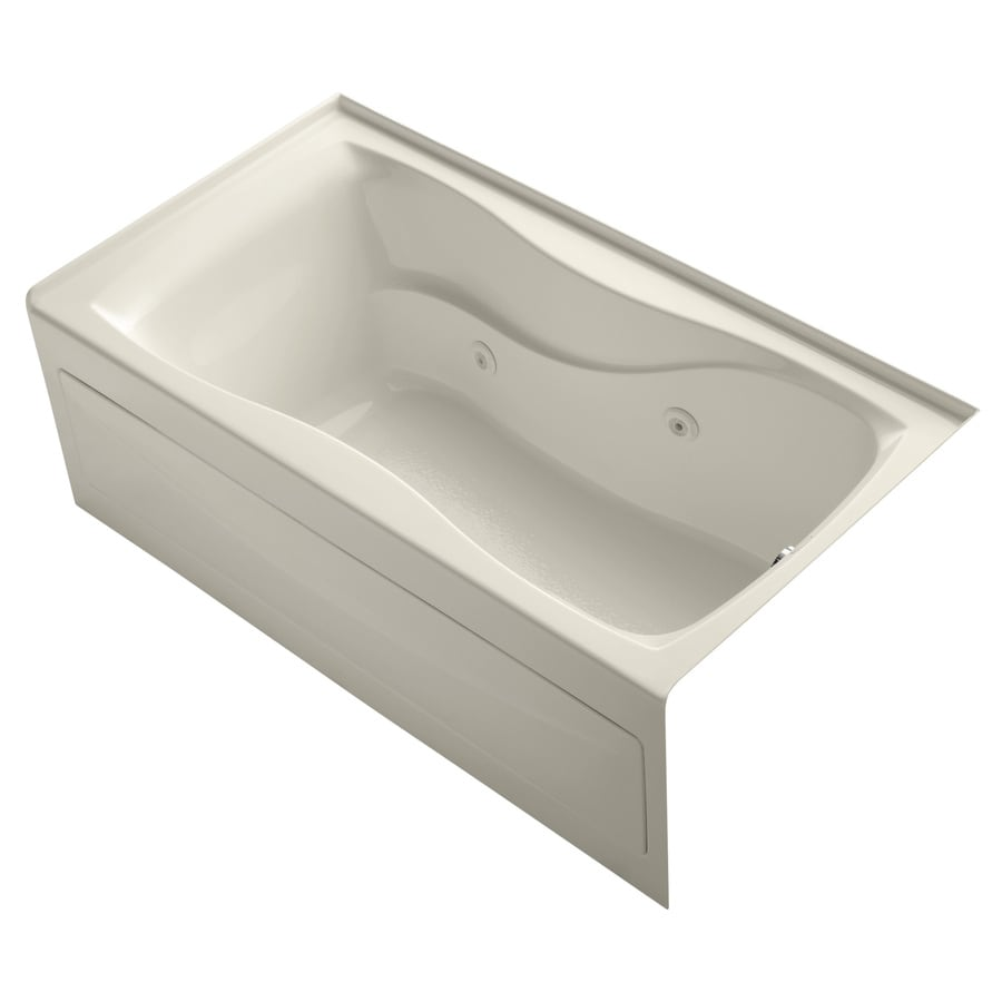 KOHLER Hourglass 60-in Almond Acrylic Alcove Whirlpool Tub with Right-Hand Drain