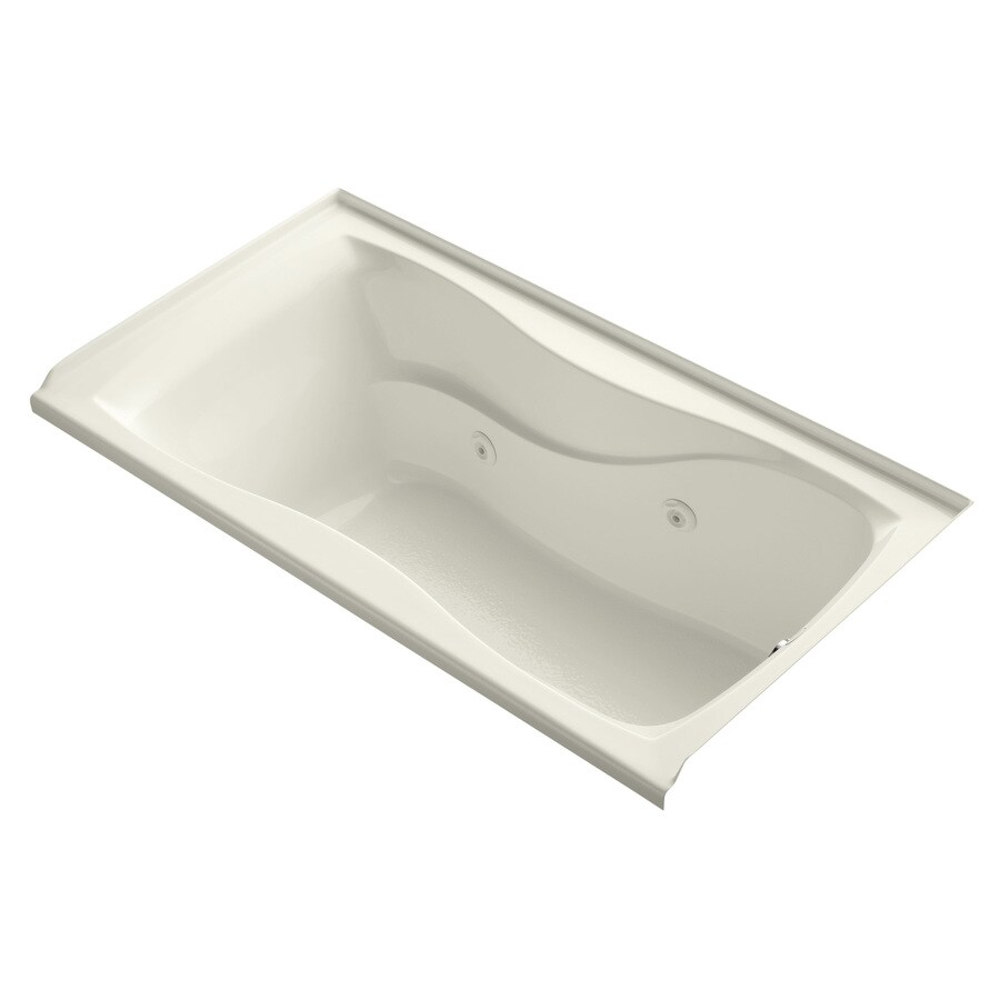 KOHLER Hourglass 60-in Biscuit Acrylic Alcove Whirlpool Tub with Right-Hand Drain
