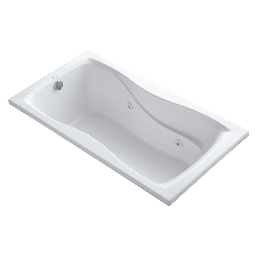 KOHLER Hourglass 60-in White Acrylic Drop-In Whirlpool Tub with Reversible Drain