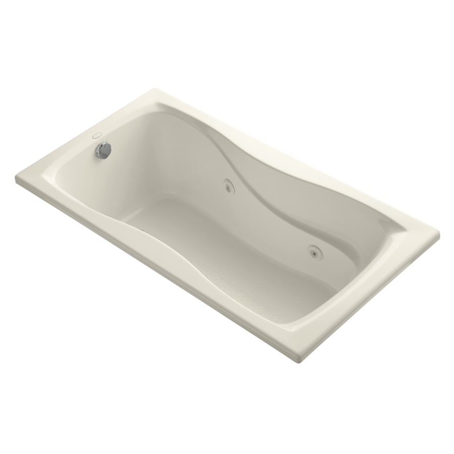 KOHLER Hourglass 60-in Almond Acrylic Drop-In Whirlpool Tub with Reversible Drain