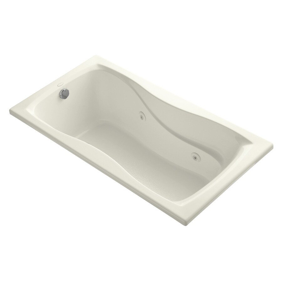 KOHLER Hourglass 60-in Biscuit Acrylic Drop-In Whirlpool Tub with Reversible Drain