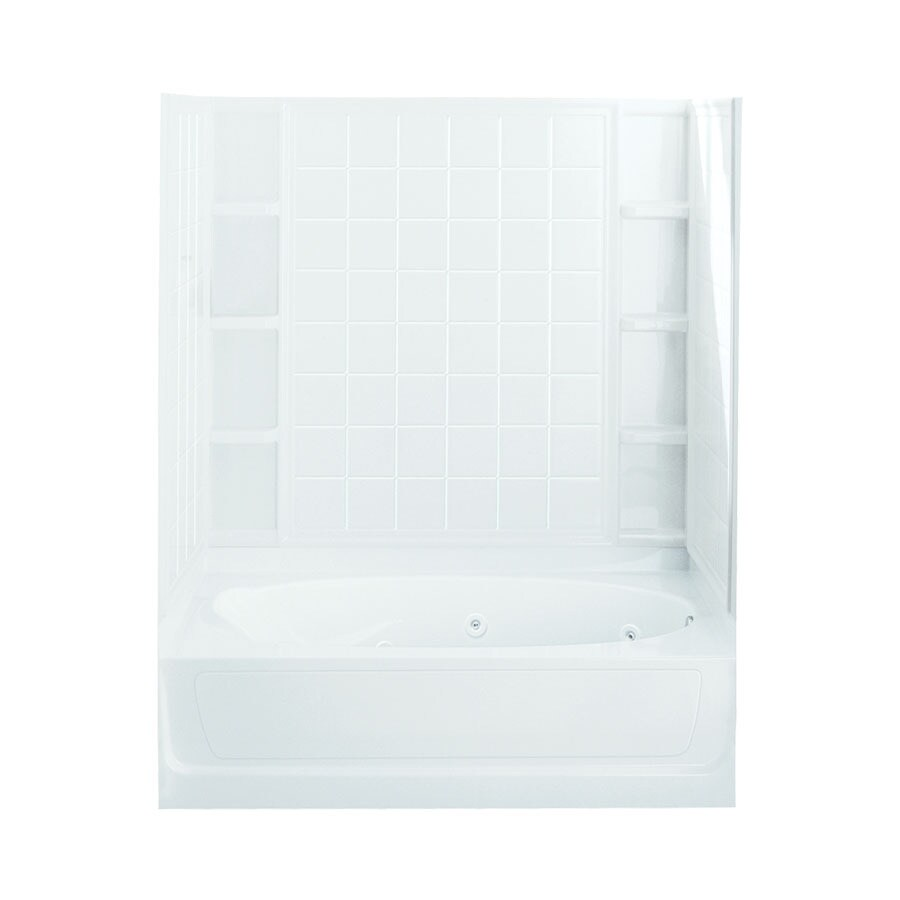 Sterling Ensemble 60-in White Vikrell Alcove Whirlpool Tub with Right-Hand Drain