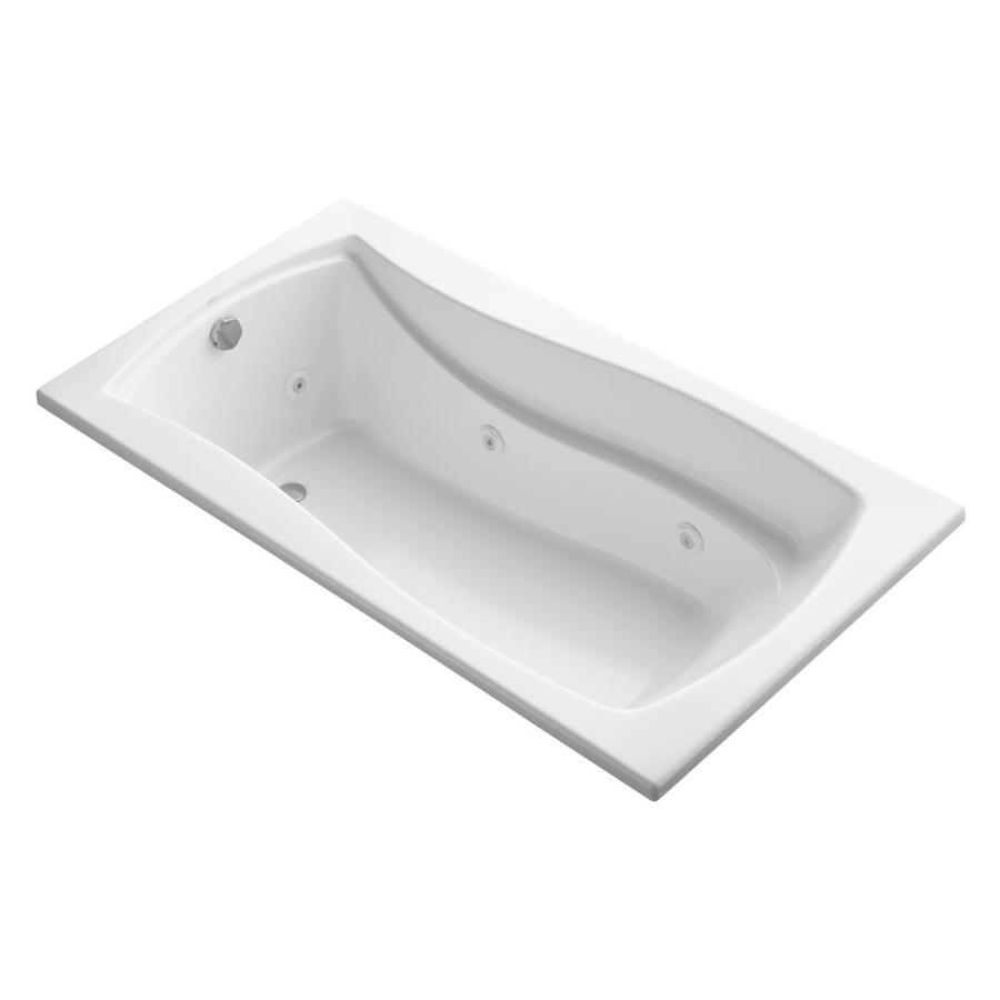 KOHLER Mariposa 66-in White Acrylic Drop-In Whirlpool Tub with Reversible Drain