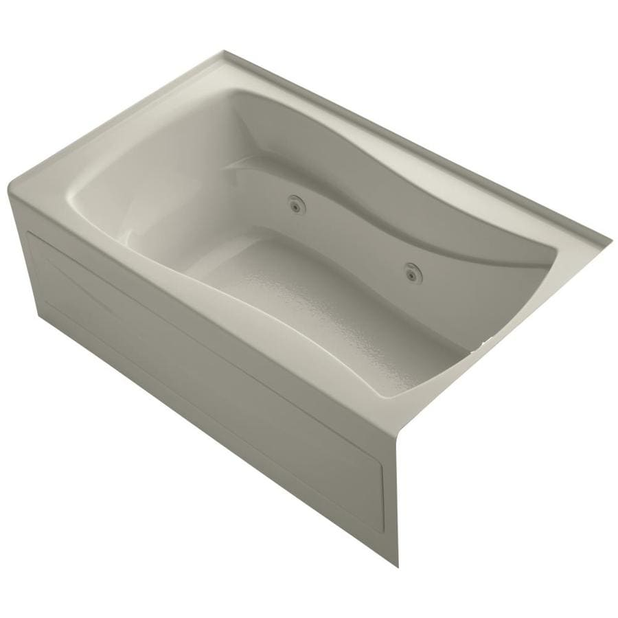 Shop KOHLER Mariposa 60-in Sandbar Acrylic Alcove Whirlpool Tub with ...
