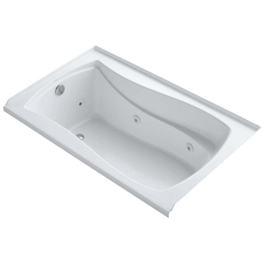 KOHLER Mariposa 60-in White Acrylic Alcove Whirlpool Tub with Left-Hand Drain