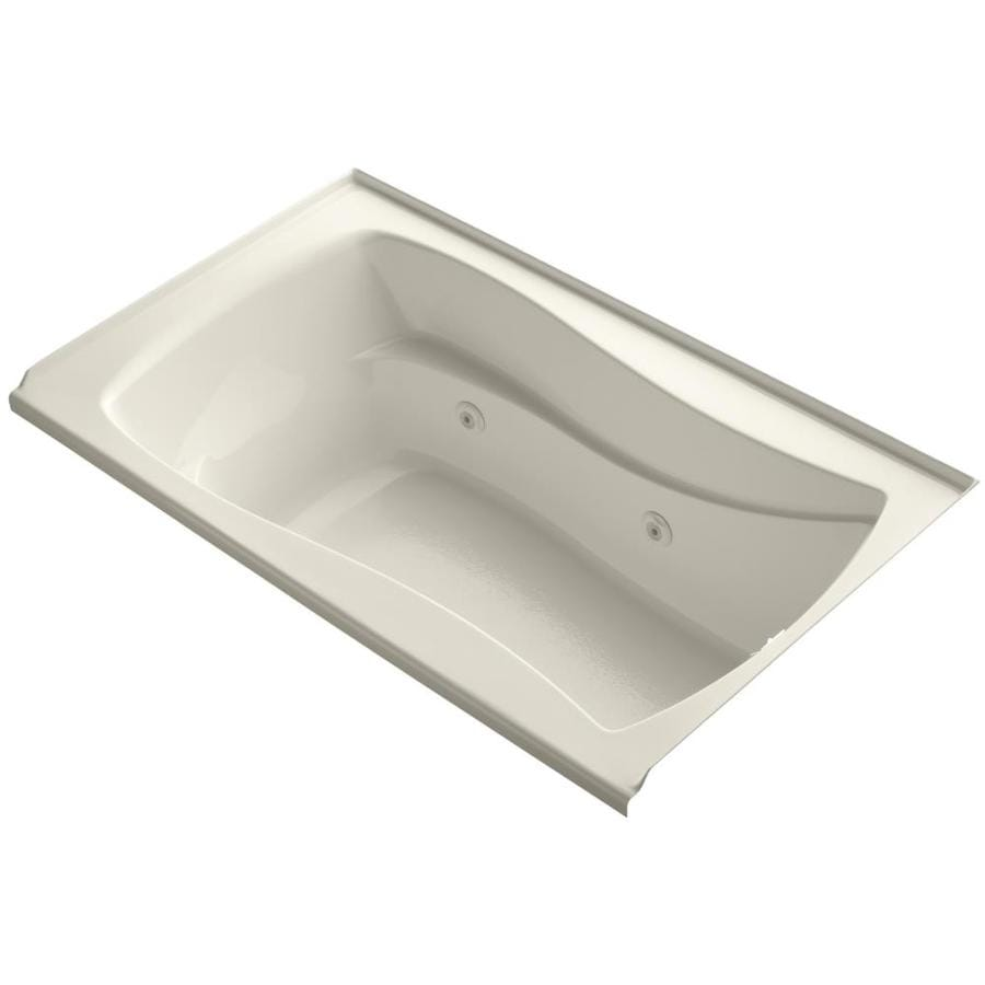 KOHLER Mariposa 60-in Almond Acrylic Alcove Whirlpool Tub with Right-Hand Drain